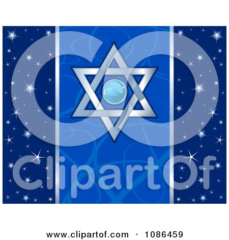 Clipart Blue Festival Of Lights And Star Of David Hanukkah Background - Royalty Free Vector Illustration by Pushkin