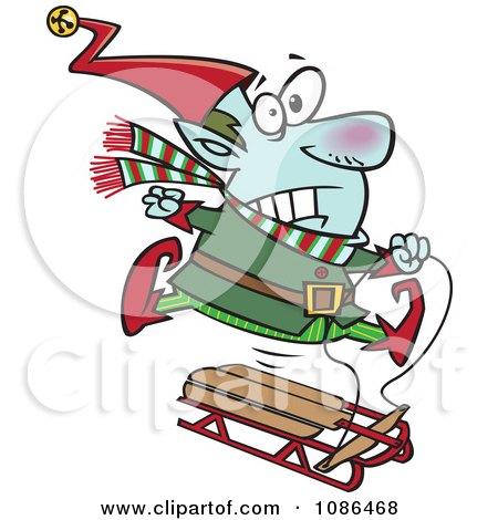 Clipart Christmas Elf Losing Control Of A Sled - Royalty Free Vector Illustration by toonaday
