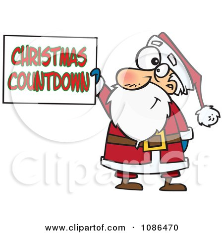Clipart Santa Claus Holding A Christmas Countdown Sign - Royalty Free Vector Illustration by toonaday
