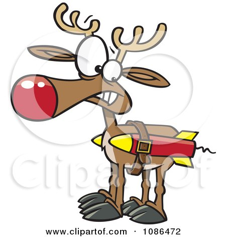 Clipart Christmas Reindeer With Strapped Rockets - Royalty Free Vector Illustration by toonaday