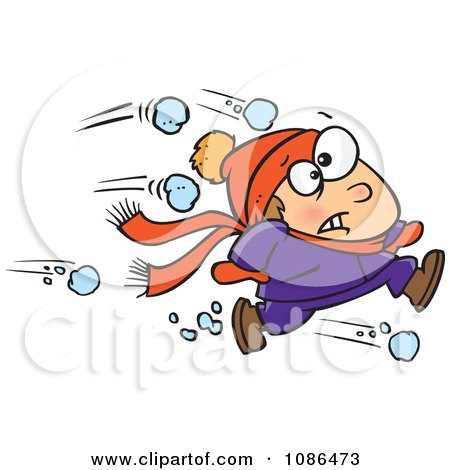 Clipart Outnumbered Boy Running From Snowballs - Royalty Free Vector Illustration by toonaday