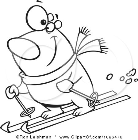 Clipart Outlined Skiing Polar Bear - Royalty Free Vector Illustration by toonaday