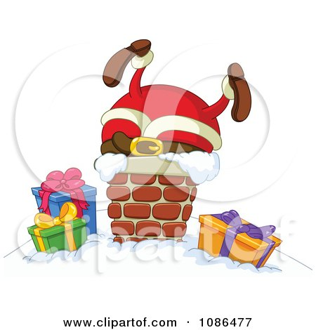 Clipart Santa Stuck In A Chimney On Christmas Eve - Royalty Free Vector Illustration by yayayoyo