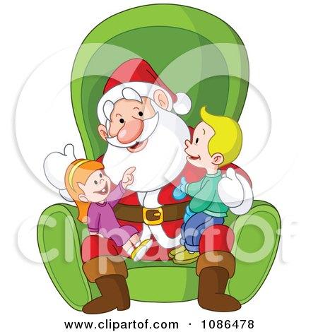 Clipart Boy And Girl Sitting On Santas Lap - Royalty Free Vector Illustration by yayayoyo