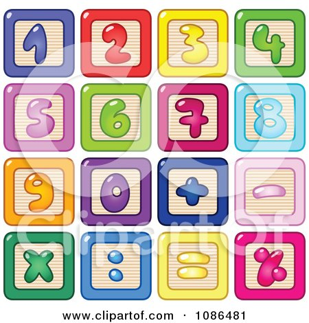 Clipart Colorful Number Blocks - Royalty Free Vector Illustration by yayayoyo