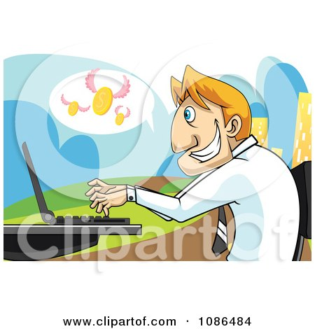 Clipart Caucasian Stock Broker Businessman Using A Laptop With Flying Coins - Royalty Free Vector Illustration by mayawizard101
