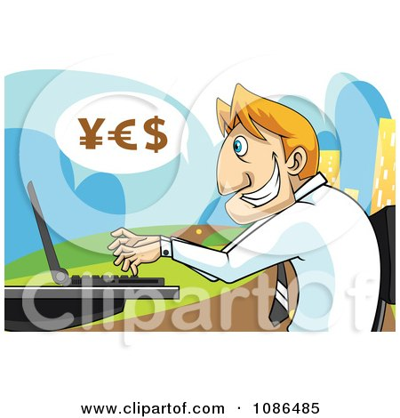 Clipart Caucasian Stock Broker Businessman Using A Laptop With YES Currency Symbols - Royalty Free Vector Illustration by mayawizard101