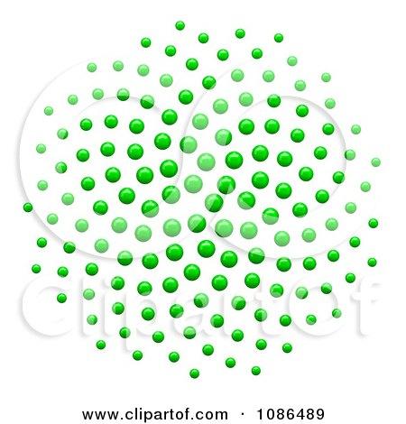3d Green Spiral Fibonacci Golden Ratio Mathematics Dot Pattern Posters, Art Prints