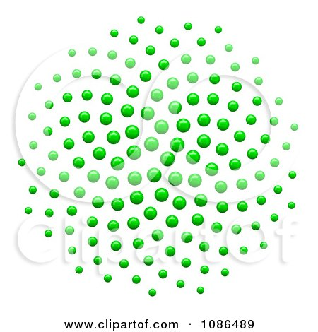 Clipart 3d Green Spiral Fibonacci Golden Ratio Mathematics Dot Pattern - Royalty Free Vector Illustration by Leo Blanchette