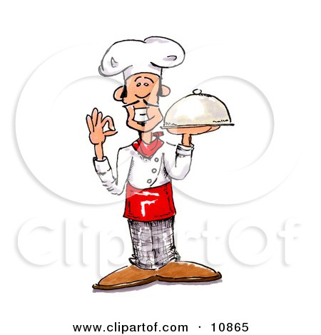 Male Chef in a Chefs Hat, Holding a Serving Platter Clipart Picture by Spanky Art
