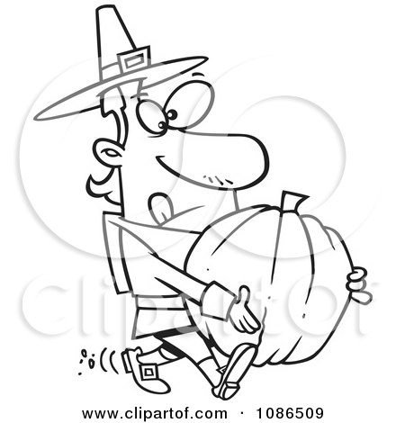 Clipart Outlined Pilgrim Man Carrying A Pumpkin - Royalty Free Vector Illustration by toonaday
