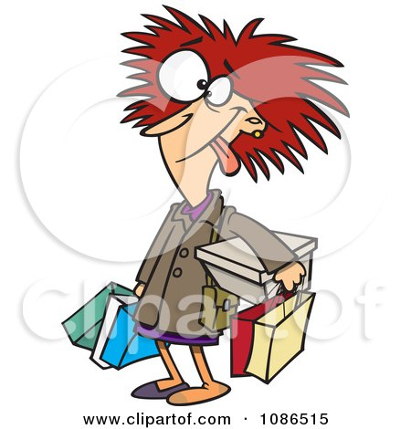 Clipart Frazzled Black Friday Shopper Woman - Royalty Free Vector Illustration by toonaday