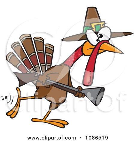 Clipart Turkey Pilgrim Hunting - Royalty Free Vector Illustration by toonaday