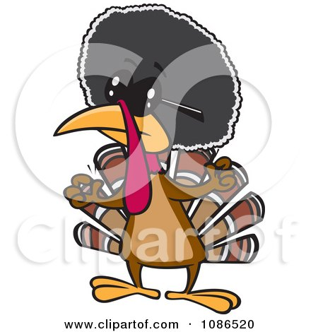 Clipart Jive Turkey Bird With An Afro - Royalty Free Vector Illustration by toonaday