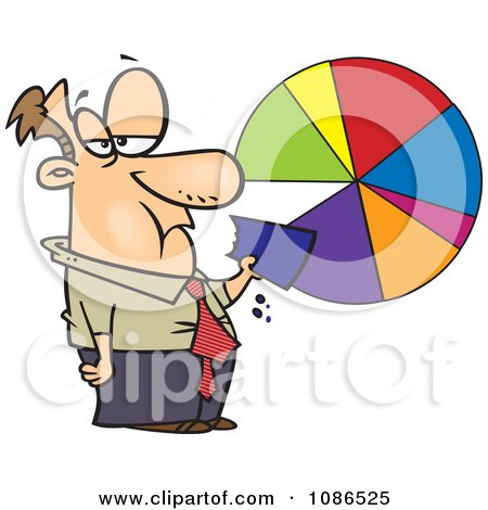 Clipart Businessman Eating A Pie Chart - Royalty Free Vector Illustration by toonaday