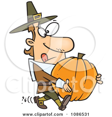 Clipart Pilgrim Man Carrying A Pumpkin - Royalty Free Vector Illustration by toonaday