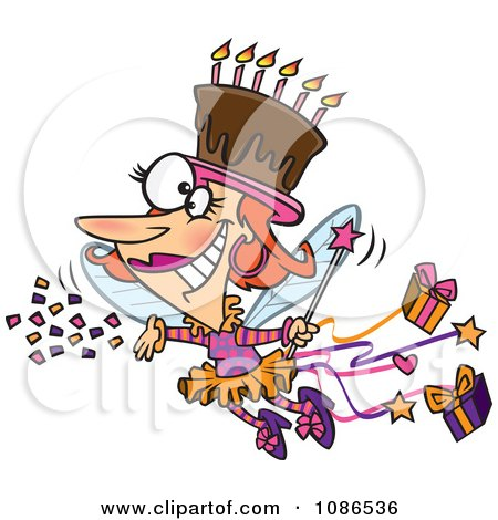 Clipart Birthday Fairy Woman With A Chocolate Cake On Her Head - Royalty Free Vector Illustration by Ron Leishman