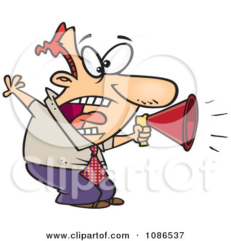 Clipart Businessman Shouting In A Megaphone - Royalty Free Vector Illustration by toonaday