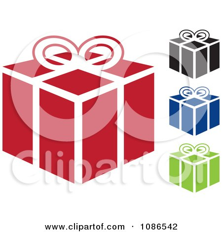 Clipart Red Black Blue And Green Gift Icons - Royalty Free Vector Illustration by michaeltravers