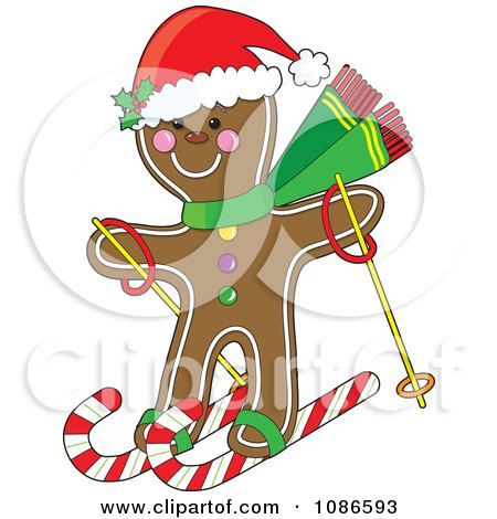 Clipart Christmas Gingerbread Man Skiing On Candy Canes - Royalty Free Vector Illustration by Maria Bell