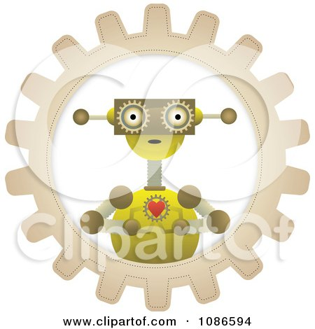 Clipart Loving Robot Holding A Heart In A Gear Cog - Royalty Free Vector Illustration by mheld
