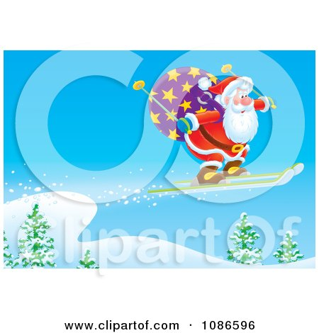 Clipart Santa Skiing In The Wilderness - Royalty Free Illustration by Alex Bannykh