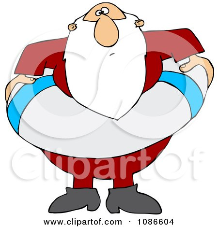 Clipart Santa With A Life Buoy - Royalty Free Vector Illustration by djart
