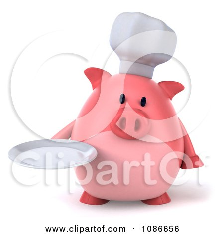 Clipart 3d Chef Pig Holding A Plate 1 - Royalty Free CGI Illustration by Julos