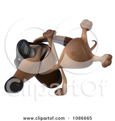 Clipart 3d Cartwheeling Dachshund Wearing Sunglasses - Royalty Free CGI Illustration by Julos