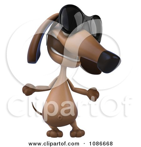 Clipart 3d Dachshund Wearing Sunglasses 4 - Royalty Free CGI Illustration by Julos