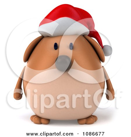 Clipart 3d Chubby Christmas Dog Wearing A Santa Hat - Royalty Free CGI Illustration by Julos