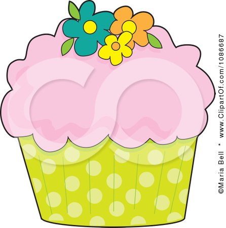 Clipart Pink Frosted Cupcake With Flowers And A Polka Dot Wrapper - Royalty Free Vector Illustration by Maria Bell