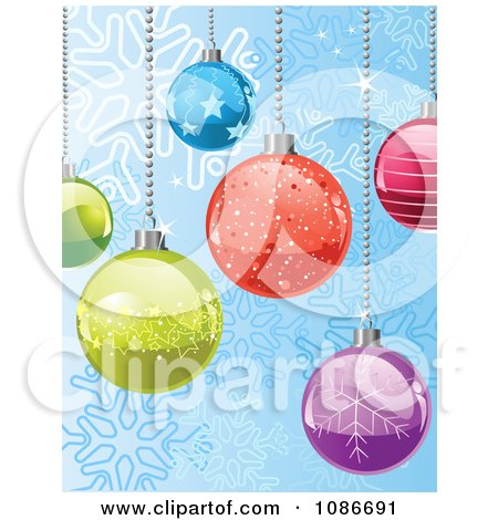 Clipart Blue Snowflake Background Of Christmas Baubles - Royalty Free Vector Illustration by Pushkin