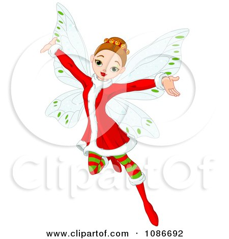 Clipart Christmas Fairy With Open Arms - Royalty Free Vector Illustration by Pushkin