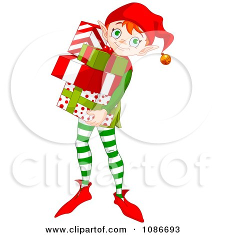 Clipart Christmas Elf Carring Wrapped Gifts - Royalty Free Vector Illustration by Pushkin