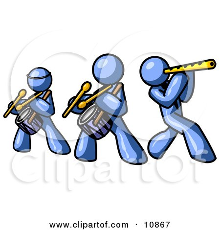 Three Blue Men Playing Flutes and Drums at a Music Concert Posters, Art Prints