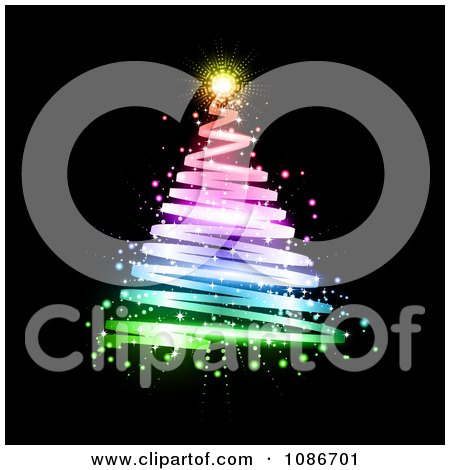 Clipart Rainbow Spiral Christmas Tree Over Black - Royalty Free Vector Illustration by KJ Pargeter
