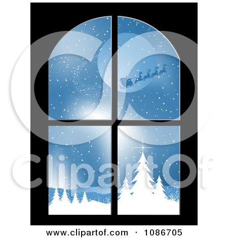 Clipart Window With A Scene Of Santa And His Reindeer Flying - Royalty Free Vector Illustration by KJ Pargeter