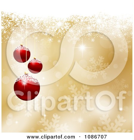 Clipart 3d Golden Snowflake Christmas Bauble Background - Royalty Free Vector Illustration by KJ Pargeter