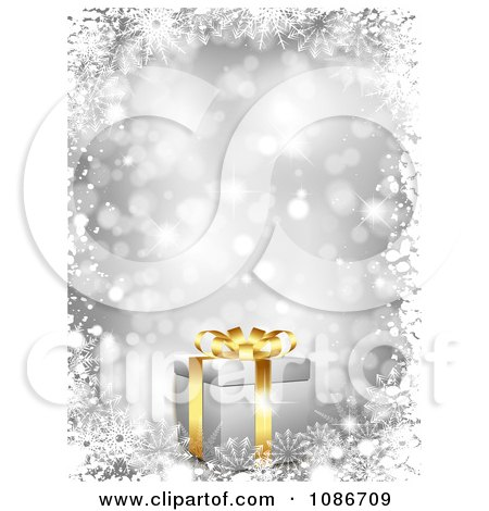 Clipart 3d Silver Christmas Gift And Snowflake Background - Royalty Free Vector Illustration by KJ Pargeter