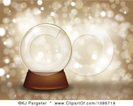 Clipart 3d Clear Snow Glob Eover Glittery Gold - Royalty Free Vector Illustration by KJ Pargeter
