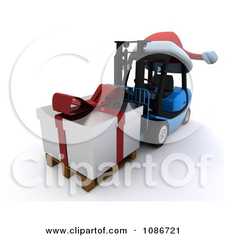 Clipart 3d Christmas Delivery Gift On A Blue Forklift - Royalty Free CGI Illustration by KJ Pargeter