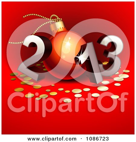 Clipart 3d 2012 With The 0 As A Christmas Bauble On Red - Royalty Free Vector Illustration by Oligo