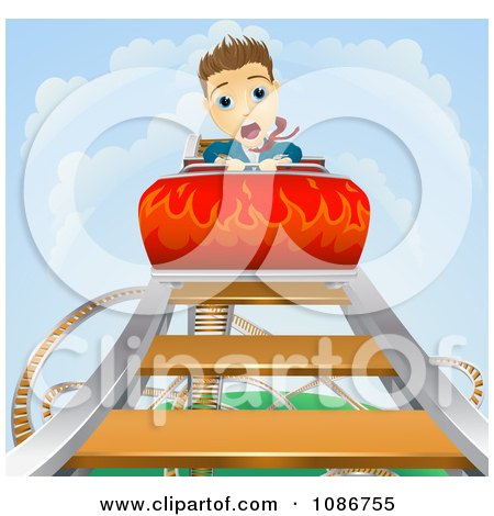 Clipart Businessman Screaming On A Roller Coaster Ride - Royalty Free Vector Illustration by AtStockIllustration