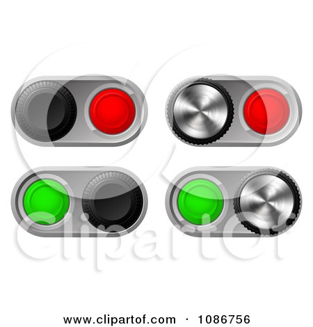 Clipart 3d Toggle Switches With Chrome Bases - Royalty Free Vector Illustration by AtStockIllustration