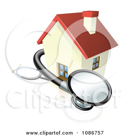 Clipart 3d Stethoscope And House - Royalty Free Vector Illustration by AtStockIllustration