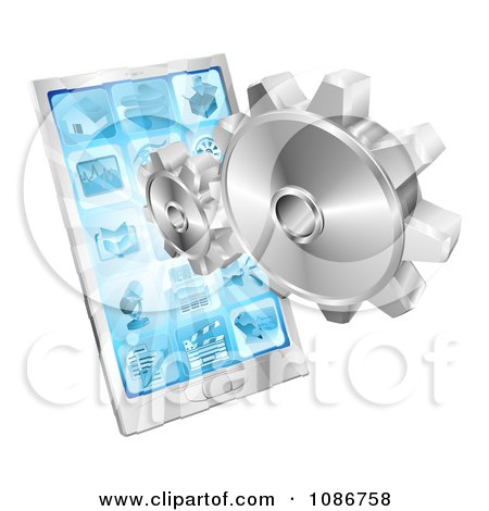 Clipart 3d Silver Gears And A Touch Screen Cell Phone - Royalty Free Vector Illustration by AtStockIllustration