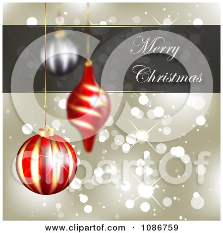 Clipart 3d Gold Merry Christmas Sparkle Background With Ornaments - Royalty Free Illustration by vectorace