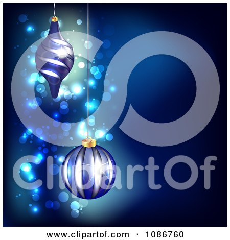 Clipart 3d Blue Sparkle Christmas Background With Ornaments - Royalty Free Illustration by vectorace