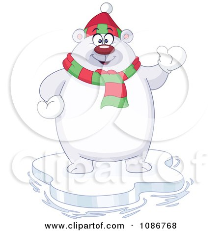 Clipart Waving Chubby Polar Bear Standing On Ice - Royalty Free Vector Illustration by yayayoyo